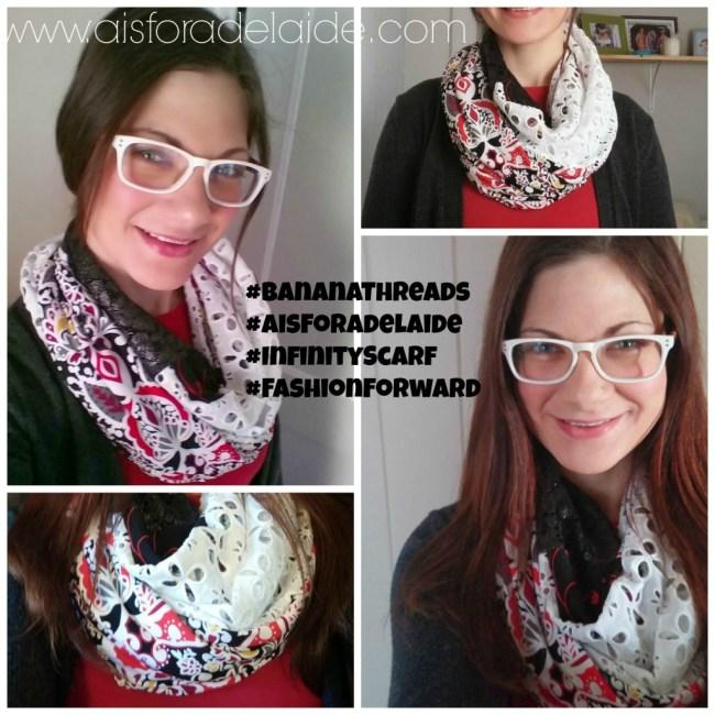 #AisForAdelaide #BananaThreads #scarf #lace #infinityscarf
