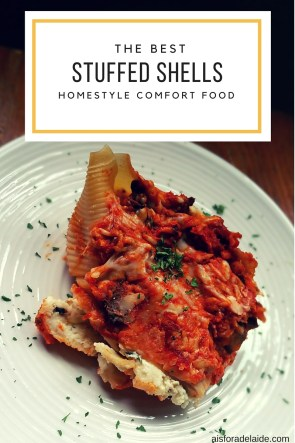 Homestyle Comfort Food Recipe: Stuffed Shells simmering in traditional flavors [ad]
