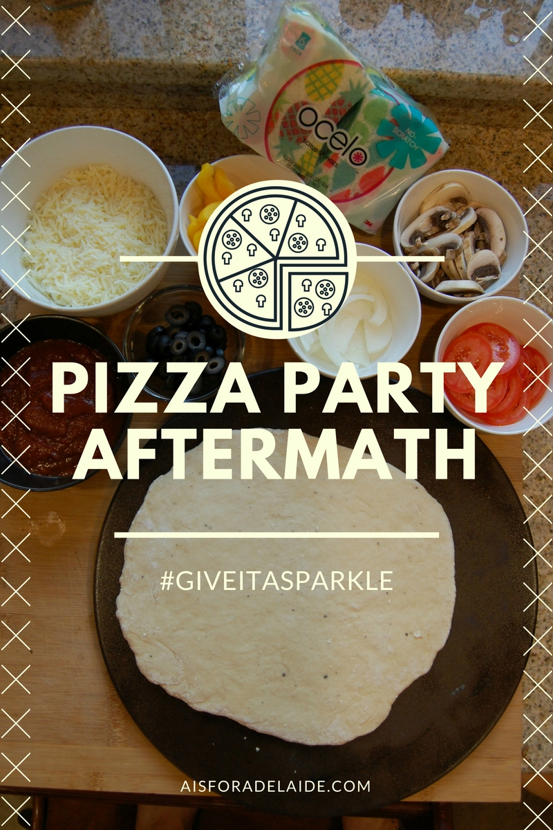 Pizza party aftermath #GiveItASparkle