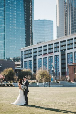 Beautiful professional couple weds in the city