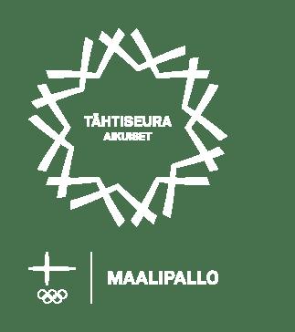 Tähtiseura-laatuohjelman tähtitunnus, jossa lukee tähtiseura aikuiset. Tunnusta kehystää tähtimäinen grafiikka. Kuvan alalaidassa Suomen lippu, olympiarenkaat, sekä teksti maalipallo.