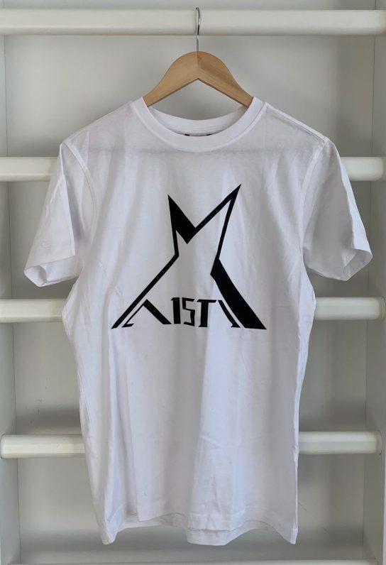 Valkoinen Aisti t-shirt: lyhythihainen jossa rintakehässä iso musta Aisti logo.