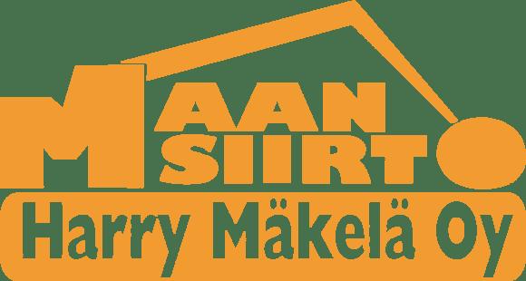Maansiirto Harry Mäkelä Oy:n logo, jossa yrityksen nimi lukee oranssilla fontilla. Logon grafiikka on muotoiltu muistuttamaan kaivinkoneen kauhaa.