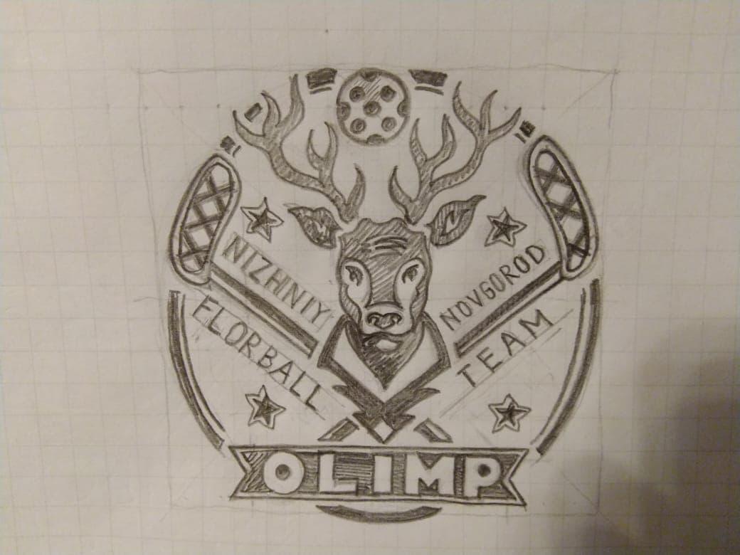 Идея от дизайнера логотипа флорбольной команды Олимп