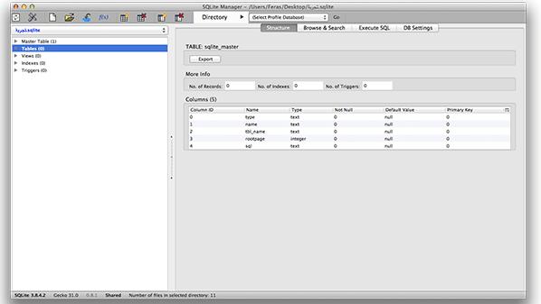 يتم فتح الإضافة في نافذة جديدة لإدارة قواعد البيانات من نوع SQLite.