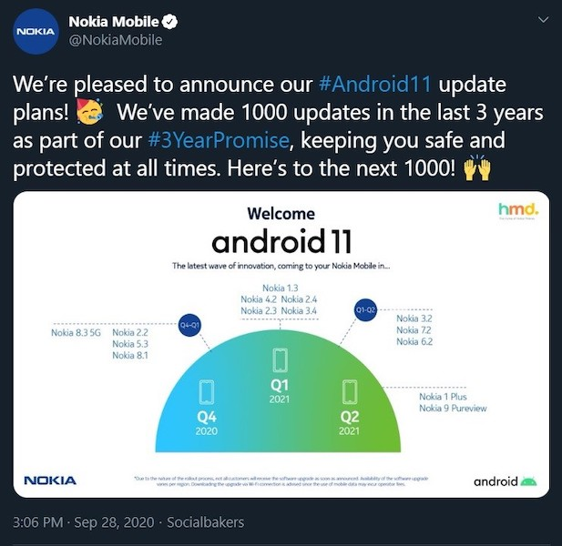 When will Nokia phones get Android 11?