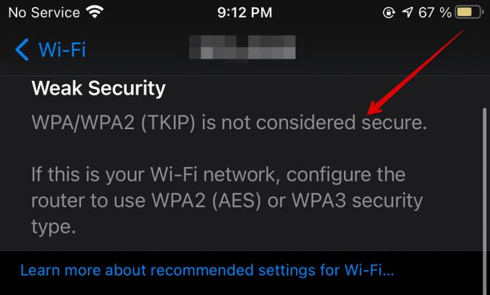 لماذا يحذرك نظام iOS 14 من ضعف أمان شبكة الواي فاي؟