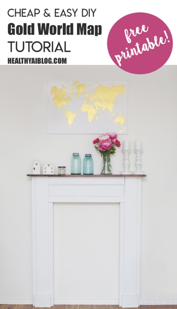 world map gold canvas tutorial- healthyaiblog.com