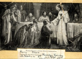 Commemoration plate for Mary Dixon's first holy communion in 1928