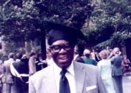 James Adeyemi at Ann's graduation for her second degree in Education, from the University of Manchester, 1983.