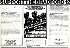 Support the Bradford 12 campaign flyer. The Bradford 12 were Asian young men who organised to protest against racist attacks. They were arrested and charged with conspiracy, but received widespread support. Manchester AYM mobilised support for the Bradford 12 who they knew through previous campaigns. Courtesy Tandana Archive