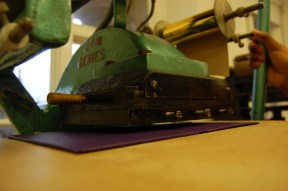 All set to 'pull' my letters onto the cover. Photo taken by Hannah Landsman.