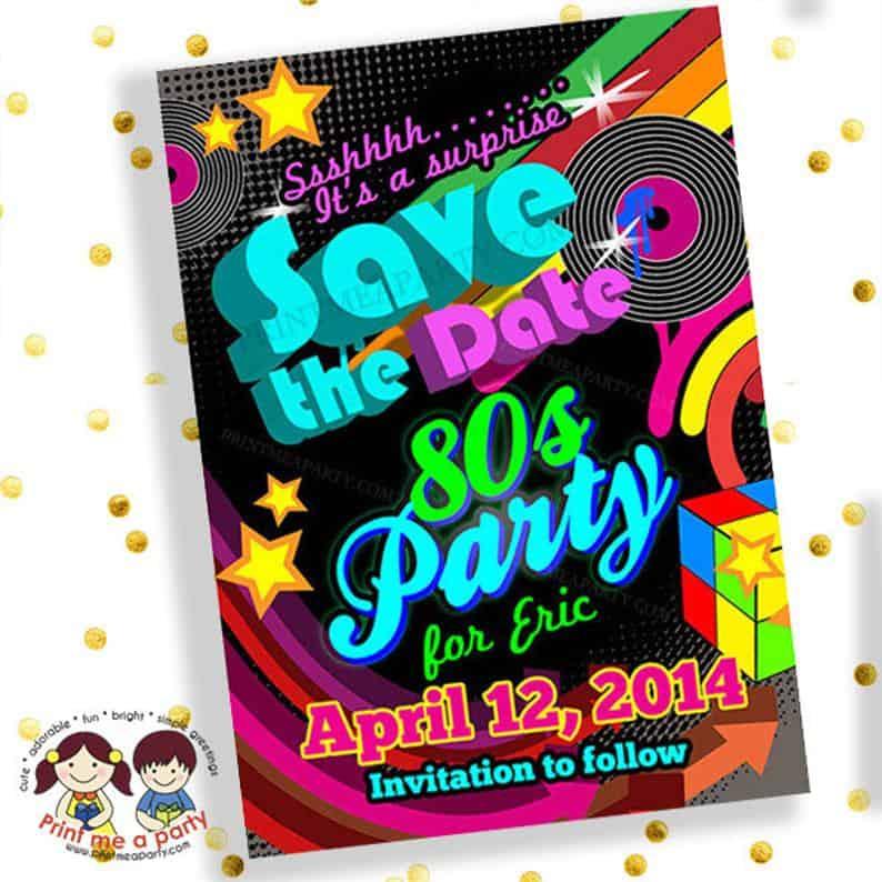 custom order 80s theme birthday party invitation digital printable invite