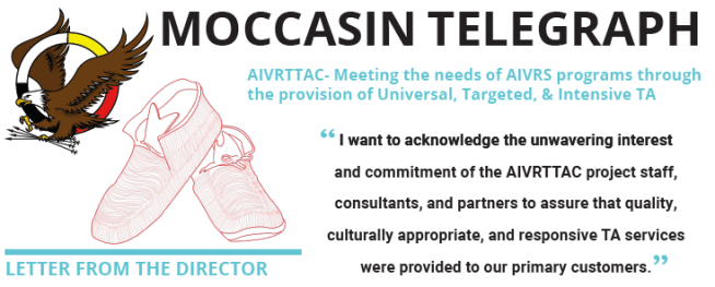 The picture depicts the AIVRTTAC logo with the title Moccasin Telegraph and a quote from the lead article.