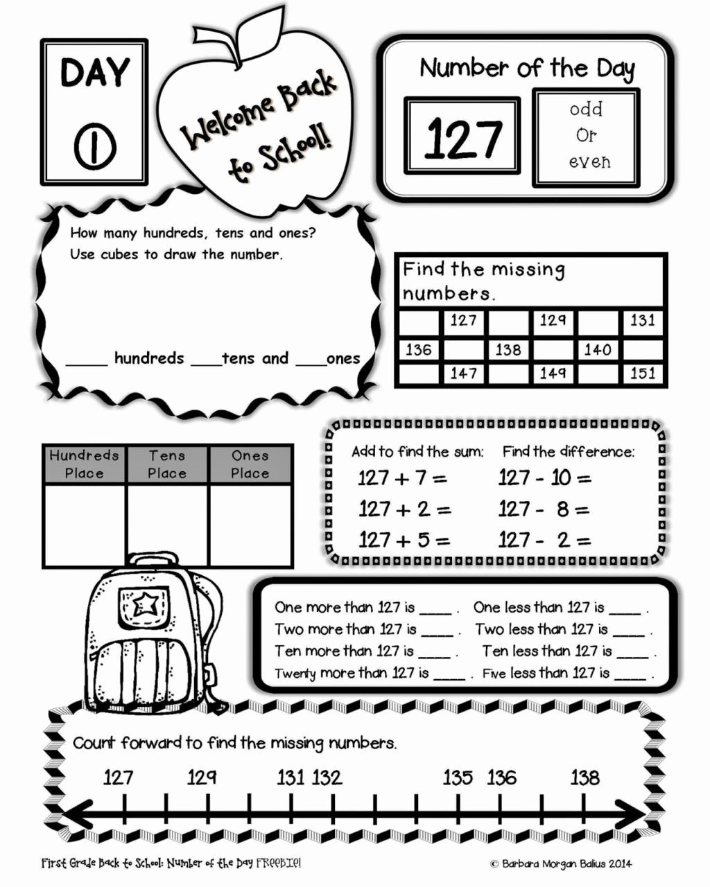 First Day Of School Worksheets For Preschoolers