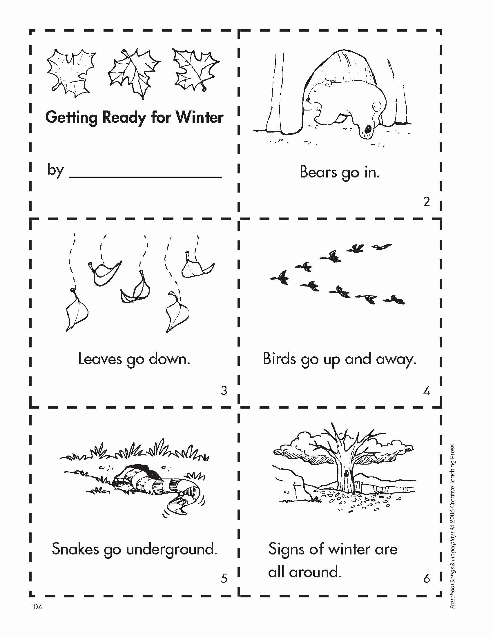 Hibernation Worksheets For Preschoolers