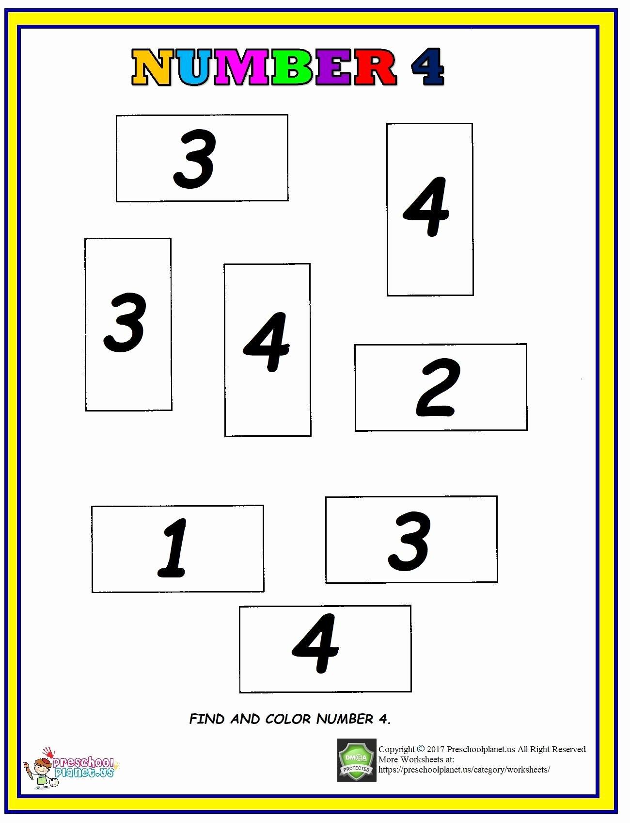 Number 4 Worksheets For Preschoolers
