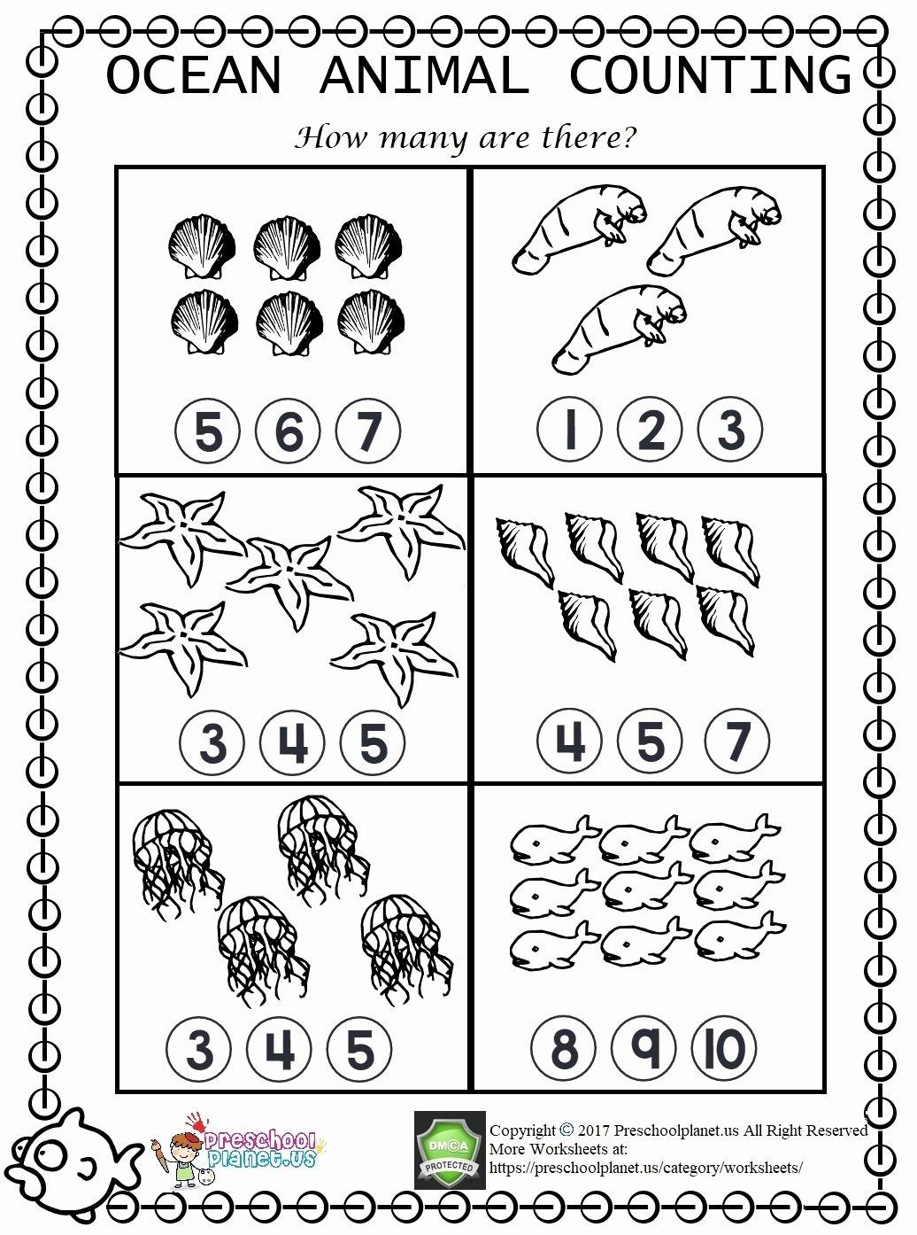 Sea Animals Worksheets For Preschoolers