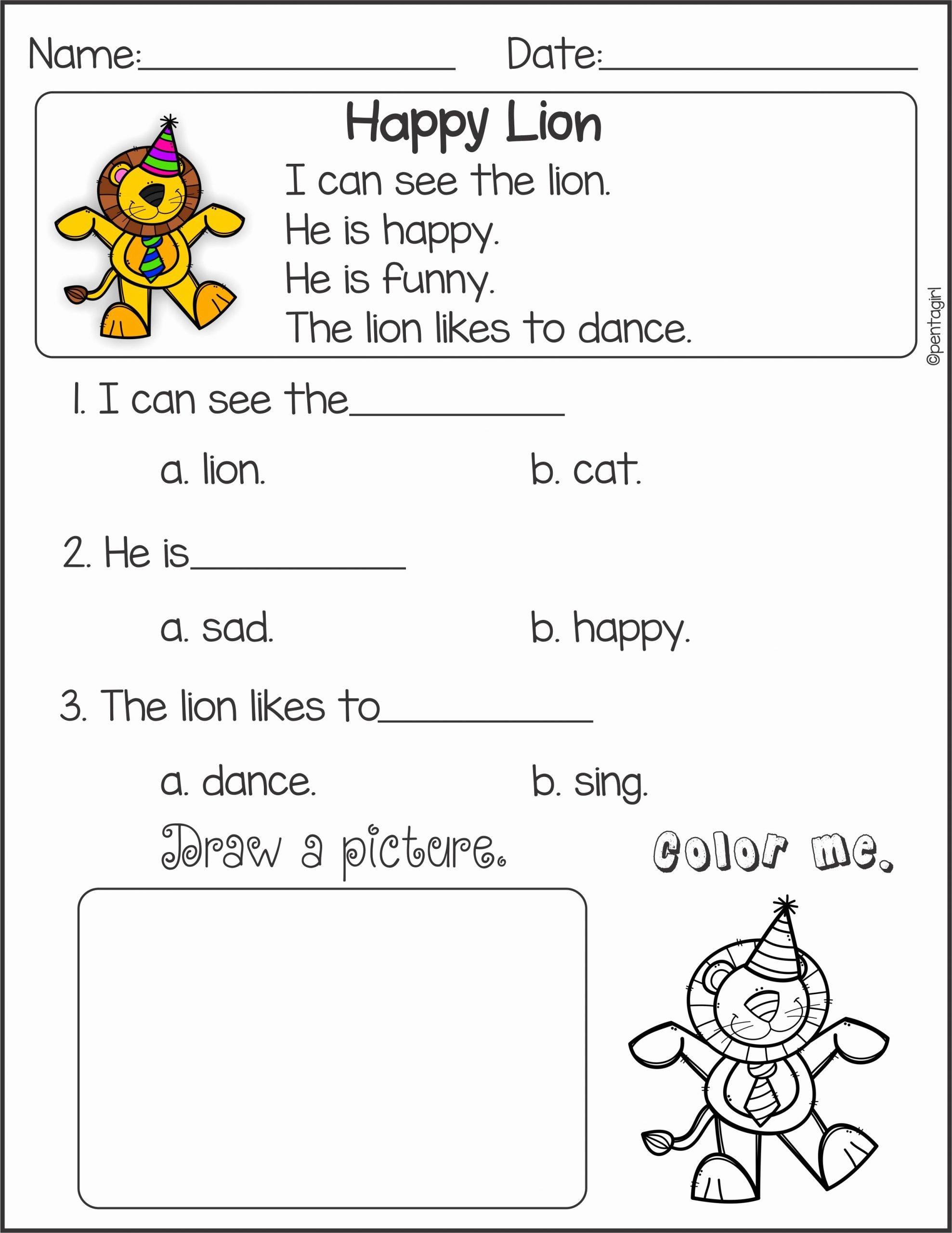 Worksheets For Preschoolers Reading