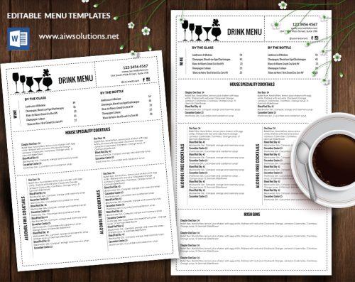 Design Amp Templates Menu Templates Wedding Menu Food Menu Bar Menu Template Bar Menu