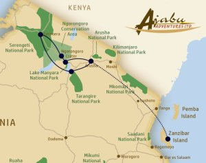 Route of the Ajabu Adventures Safari Special