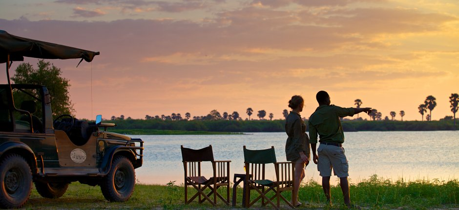 Sundowner at the Rufiji River in Selous Game Reserve