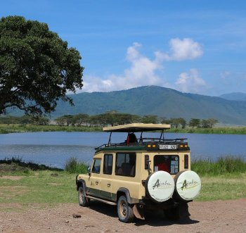 Ajabu Adventures safari vehicle in the Ngorongoro Crater