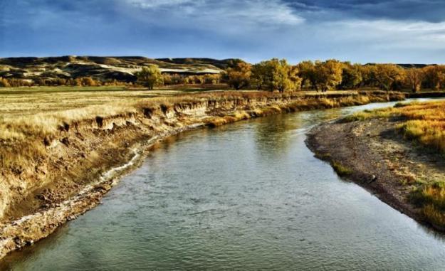Sungai Belle Fourche di South Dakota USA