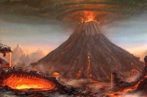 Ilustrasi letusan Gunung Galunggung Tahun 1822