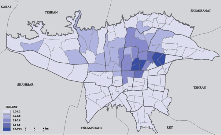 A map of Tehran that shows the relative distribution of Christians across the city. Most Tehrani Christians are Armenians, though many other Churches exist as well (such as Assyrian, Chaldean, and others).