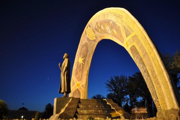 Statue of Rudaki in Dushanbe, Tajikistan.