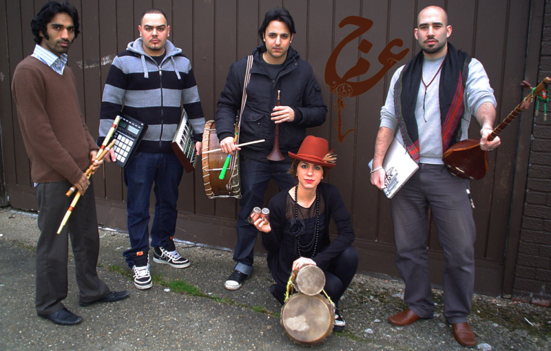 Members of Ajam Band pictured with some of the instruments they use, including the ney, dohol, naghareh, dotar, and a sampler (Photo: Ajam Band)