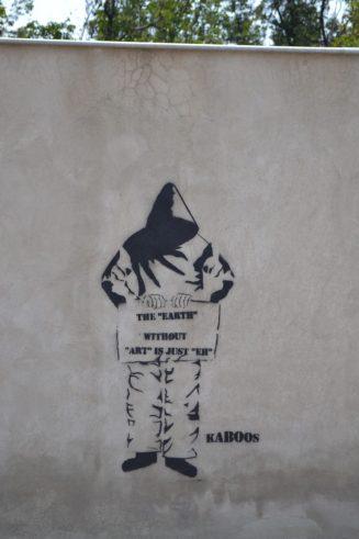 A stencil done by Mashhadi street artist Kaboos.