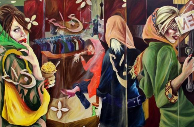 """""""Tehran Shopping Malls"""" by Saghar Daeeri 100 x 150 cm Acrylic on canvas, 2008"""