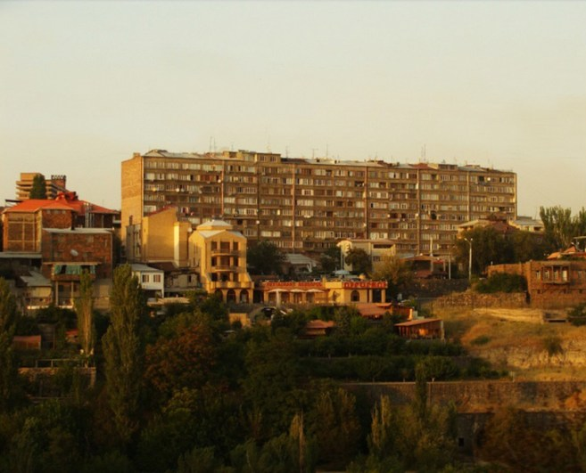 Soviet housing along Hrazdan River.