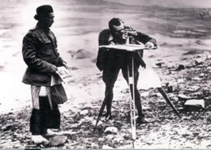 Mapping future oil fields on Bakhtiyari lands in Khuzestan, sometime in the 1910s.