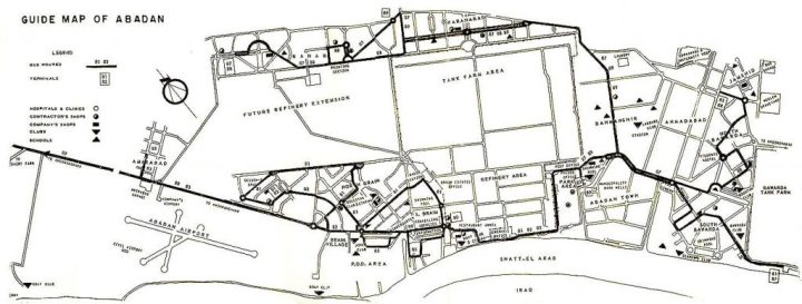 The company town of Abadan in 1926 (L) and in the second half of the 20th Century (R).