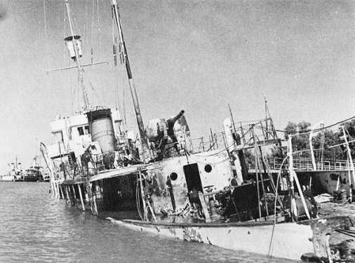 Babr, an Iranian warship after being shelled by British forces in Aug. 1941.