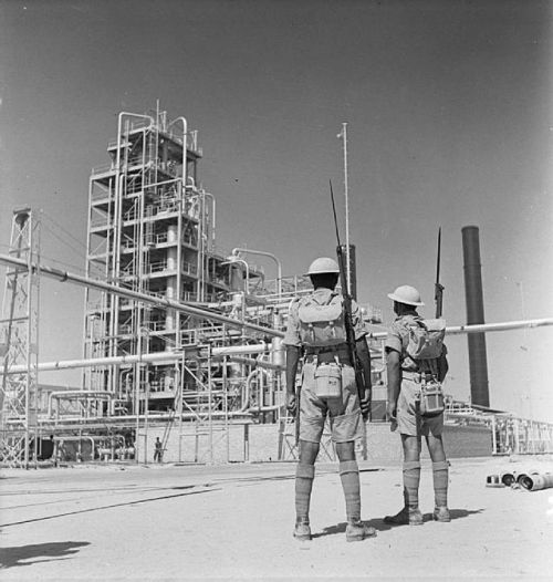 British Indian riflemen at the Abadan Refinery.