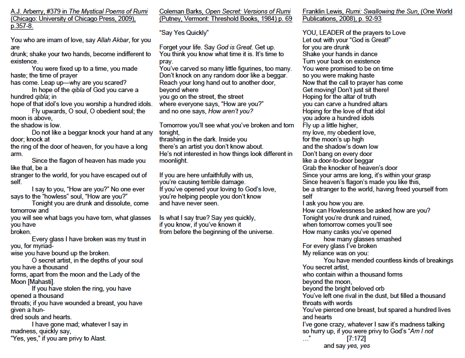 Three Rumi translations by Arberry, Barks, and Lewis respectively. Click on the image to enlarge.