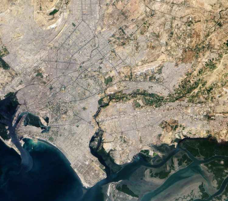 Karachi as seen in a photo taken by an astronaut from the International Space Station in 2010.