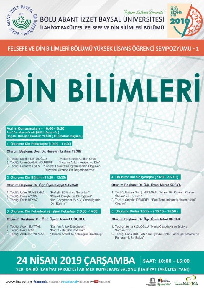 Din Bilimleri 2019 AFİŞ - Felsefe Ve Din Bilimleri Bölümü Yüksek Lisans Öğrenci Sempozyumu-I