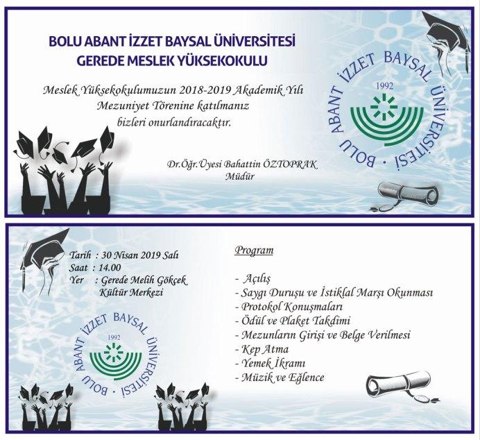 gmyo - BAİBÜ 2018-2019 Gerede Meslek Yüksekokulu Mezuniyet Programı