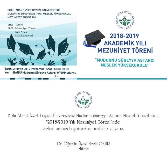 mudurnu 2 - BAİBÜ 2018-2019 Mudurnu Süreyya Astarcı Meslek Yüksekokulu Mezuniyet Programı