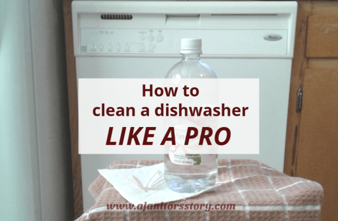 how to clean a dishwasher with vinegar and a magic eraser. bottle of vinegar paper towel