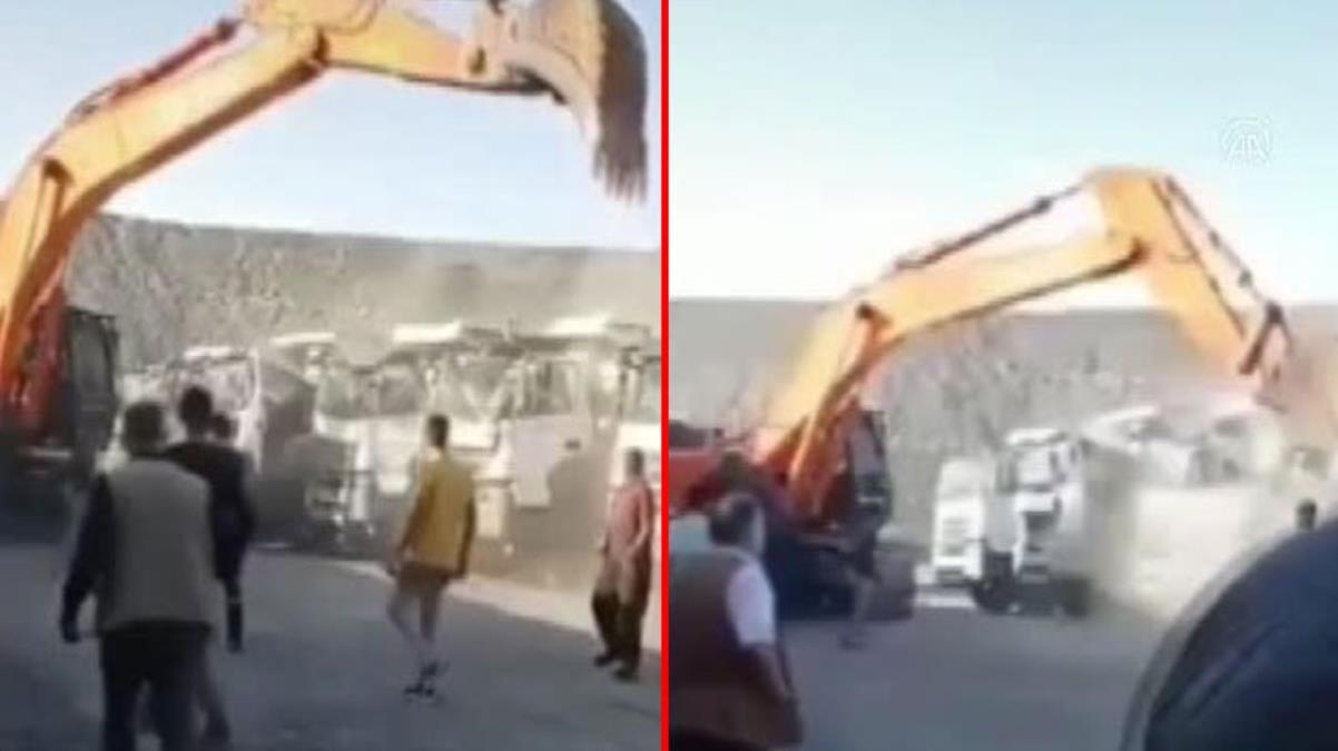 Ücretini alamayan işçi iş makinesiyle kamyonları parçaladı!