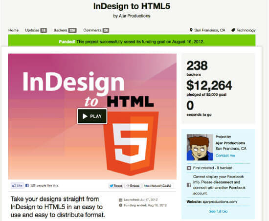 InDesign to HTML5 Kickstarter campaign raised over $12,000