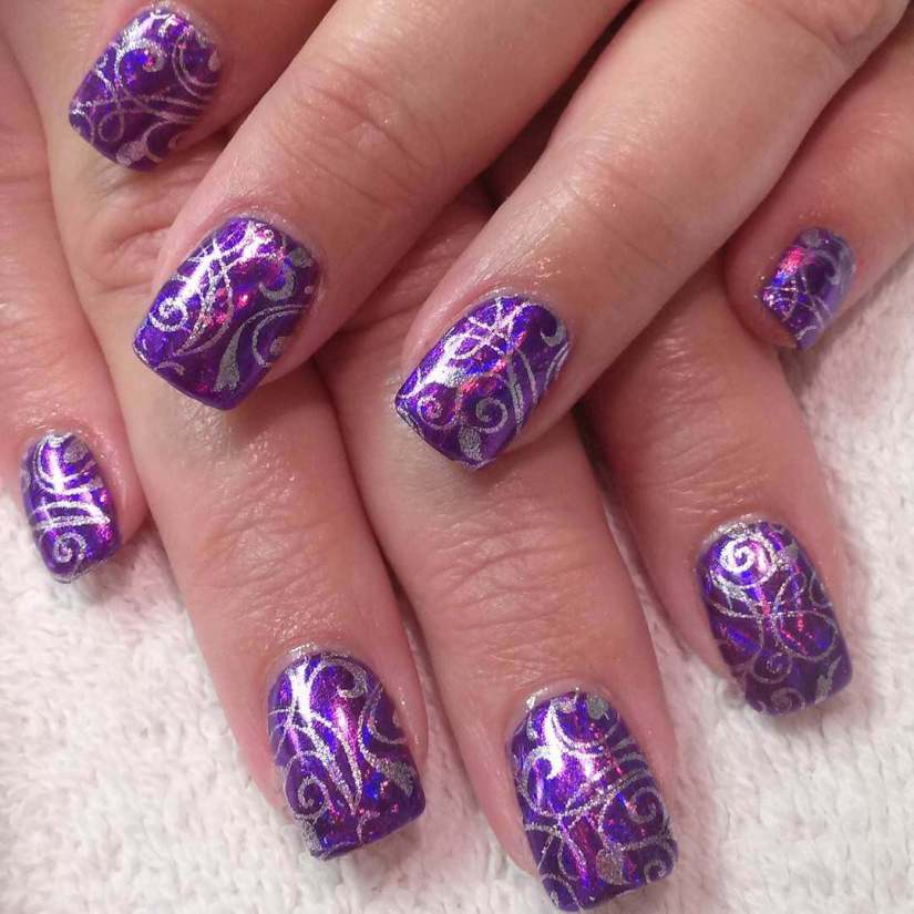 Lilac Almond Nail Art with Blue Flowers