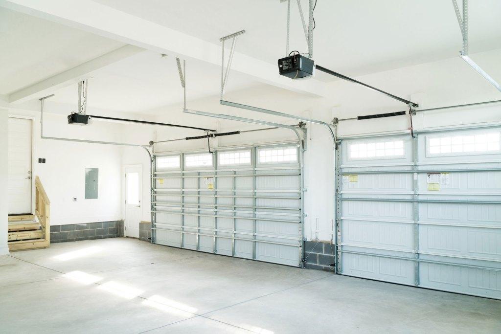 Garage door springs and garage indoor view
