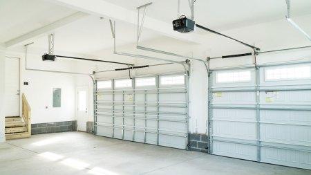 Indoor view of garage and garage door springs